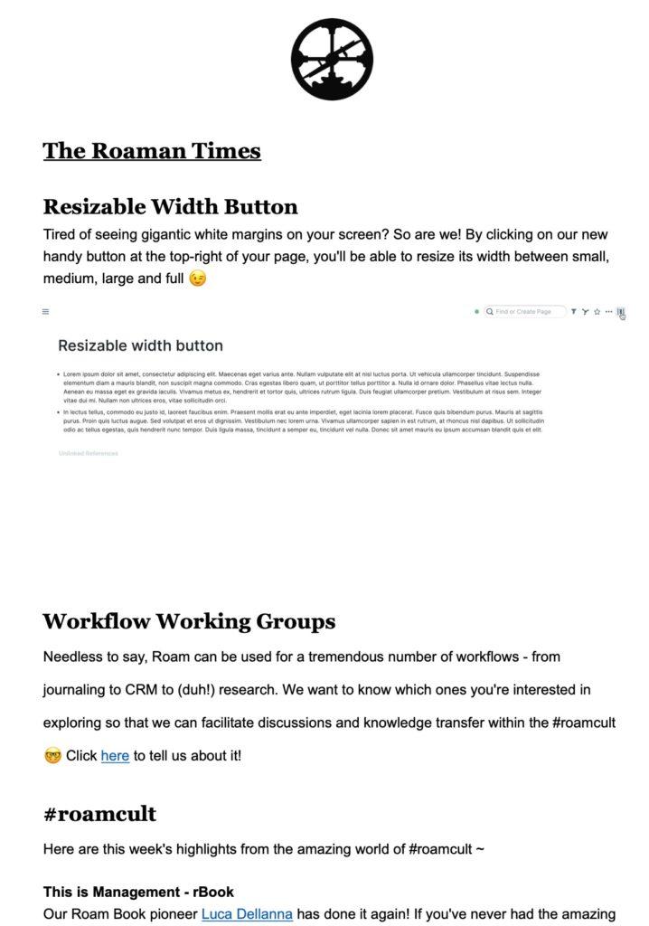 Roam Research Newsletter